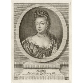 Queen Mary England portrait engraving print