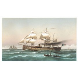 Morel Fatio La Flandre French naval ship lithograph