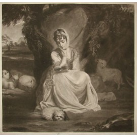 Mrs Crew portrait engraving reading Reynolds