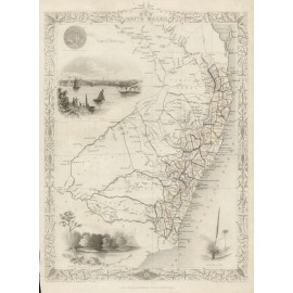 tallis new south wales australia antique map