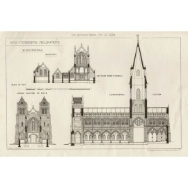 New Melbourne Cathedral Photolithograph Maurice Adams 1879