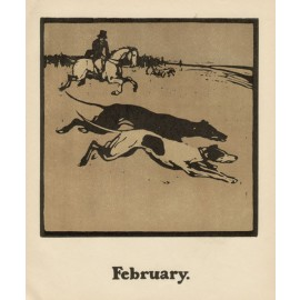 coursing greyhound lithographic woodblock William Nicholson 1898 almanac sporting