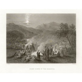 Night Scene at the Diggings engraving John Skinner Prout