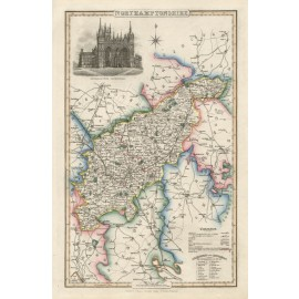northamptonshire english county slater antique map
