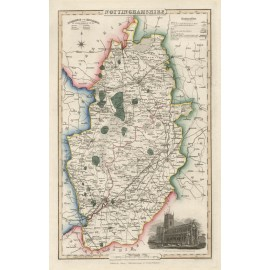 nottinghamshire english county slater antique map