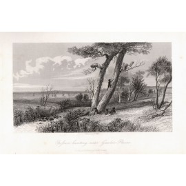 Opossum Hunting near Gawler Plains engraving Gill 1845
