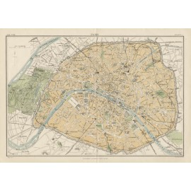 paris plan city antique map