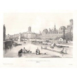 Seine Hotel de Ville Paris William Parrott lithograph