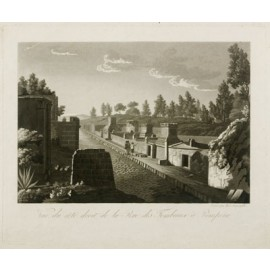 Road tombs Pompeii Aquatint engraving Paul Fumagalli