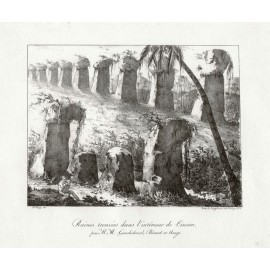 Ruines trouves Tinian Freycinet Arago lithograph