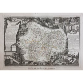saone and loire levasseur french department antique map