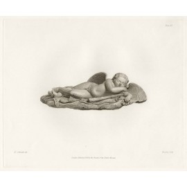 Roman statue sculpture  Sleeping Cupid engraving Corbould