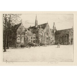 St Pauls School London etching Oliver Rae