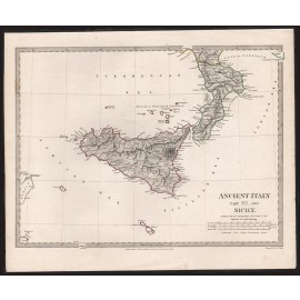 Ancient Italy and Sicily antique map Walker 1830