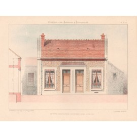 petite habitation french architectural chromolithograph