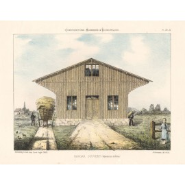 hangar couvert french architectural chromolithograph