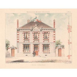ecole communale french architectural chromolithograph