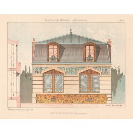 habitation bourgeoise french architectural chromolithograph