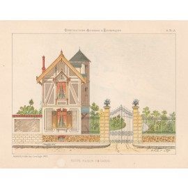 petite maison garde french architectural chromolithograph