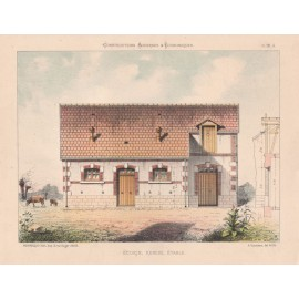 ecurie remise etable french architectural chromolithograph
