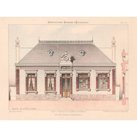 oetite ecole communale french architectural chromolithograph