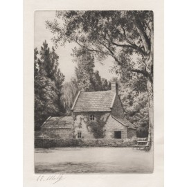 captain cooks cottage ernest abbott etching fitzroy