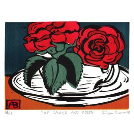 cup saucer roses Aileen Brown linocut