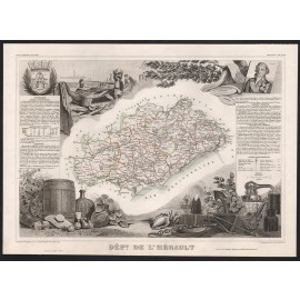 herault levasseur french department antique map