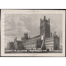 ely cathedral engraving print antique