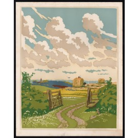 open gate John Hall Thorpe colour woodcut