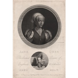 Lady Jane Grey England portrait engraving print