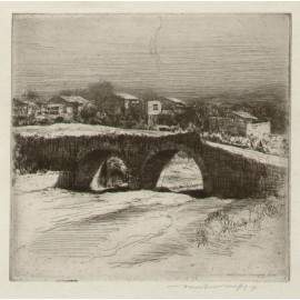 Mexico mexican village Bridge Mortimer Menpes etching