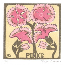 pinks Aileen Brown linocut