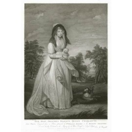 Queen Charlotte portrait engraving William Beechey