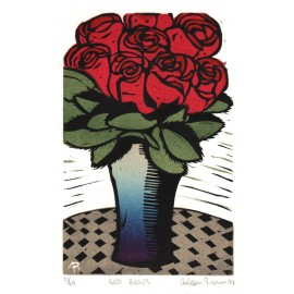 red roses Aileen Brown linocut