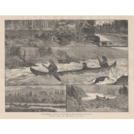 river life british columbia canada antique print engraving