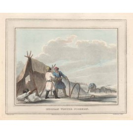 russian winter fishery antique print