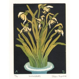 snowdrops Aileen Brown limited edition signed linocut