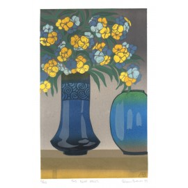 two blue vases Aileen Brown limited edition signed linocut