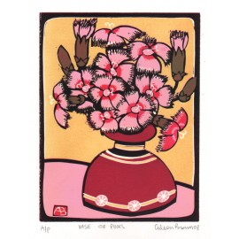 vase pinks Aileen Brown linocut