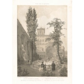 Gardens Quirinale Palace rome lithograph