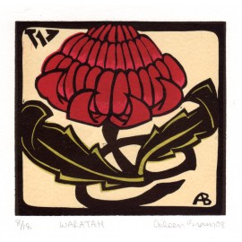 waratah Aileen Brown limited edition signed linocut