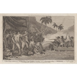 An Exact Representation of the Death of Captn. James Cook F.R.S. at Karakakooa Bay in Owhyhee on Feby. 14, 1779,